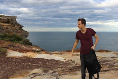 Final Point (black.ginger) Tags: ocean trip sky cloud brown haircut man black guy nature contrast bag model tour stones watch sydney style australia adventure casio shore coulds bagpack