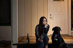 the late night moment (dayseven2013) Tags: wine winery dog pet champagne sparklingwine cottage home latenight nightphotography strobist flashphotography asian portrait story nostrobistinfo removedfromstrobistpool seerule2
