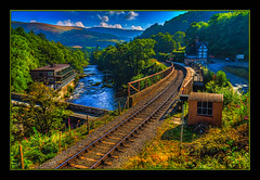Berwyn Train Station (Kevin, from Manchester) Tags: llangollen wales railwaystation railwaylines sky clouds river bridge trees kevinwalker canon1855mm berwyn gradeii architecture colorfull hdr historical history