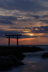 Sunrise of the pacific ocean (t.kunikuni) Tags:      jp          japan ibaraki ibarakiken oarai oaraimachi oaraicoast oaraiisomaejinjashrine sunrise daybreak dawn coast sea ocean shrine torii