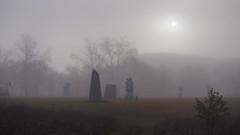 Statues in the Fog (Gerry Marchand) Tags: olympus omd em5 fog saskatoon saskatchewan statue statues sun