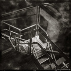 Downstairs (*altglas*) Tags: mediumformat mittelformat 6x6 120 film analog expired expiredfilm orwonp20 orwo bw monochrome zeiss superikonta 53316 factory fabrik closed abandoned lostplace