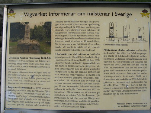 Informationstavla vid milsten vid väg 168 i Ytterby 2012