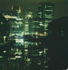 Look and you shall see (Ray Liu (Photographer)) Tags: roidweek roidweek2016 polaroidweek polaroid city cityscape reflection lowlightphotography night instantphotography instant i1 lights lowlight skyscrapers london docklands