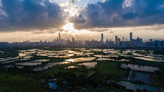 Hong Kong - Shenzhen border (dawvon) Tags: landscape liupok nature water city cityscape china pond futian asia hongkong sky shenzhen cloudy newterritories guangdongprovince godlight futiandistrict guangdong hk