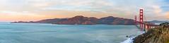 Sunrise at the Golden Gate (Nick Lundgren) Tags: california golden gate bridge sunrise morning ocean pano panoramic blue long exposure mountains