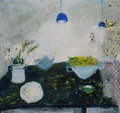 Fattened pods pop burst in the warm silence of summer (sprinkling happiness) Tags: art painting tables shellingpeas wallpaper summer stilllife flowers