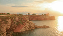 Sep 24: Sunset on Sea, Terrasini Sicily Italy (johan.pipet) Tags: flickr cliff crag reef rock sea coast sunset sunny sun torre alba tower island mediterranee holiday travel eu europe seascape landscape skyline warm palo bartos barto canon