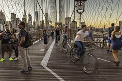 Evening walk on the Brooklyn Bridge (Christian Wilt) Tags: newyork us usa brooklyn bridge people bicycle buildings sunset