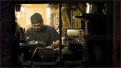 """Yakitori Chef"" Asakusa, Tokyo, Japan (November 2016) (Kommie) Tags: yakitori chef japanese portrait candid r f12 56mm fujinon xpro2 fujifilm photography street light low japan asakusa tokyo"