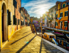 Sunset In Burano (Stuck in Customs) Tags: hasselblad italy stuckincustoms treyratcliff venice quad burano dailyphoto daily outdoor outdoors outside hdr hdrphotography hdrphoto hdrtutorial island canal gondola boat taxi colour color horizontal tower glass glassblowing ocean bay gulf water northeastitaly blue green brown red pink orange purple white black town city lace lacemaking fc300x february p2015 2016 h5d hcd 3590