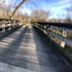 Bike ride over a bumpy bridge (annemconnor@yahoo.com) Tags: bridge jarring verona motionblur blur exercise healthylifestyle freshair nature outdoors wisconsin autumn fall riding iphone bumpy bikepath railstotrails trail