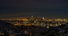 An L.A. Night Filled With Light  [EXPLORE: 11/10/16] (Wilkof Photography) Tags: hollywood lighttrails losangeles hollywoodbowloverlook dtla california canont4i canon countryside cloudy cloudcover scenic dark dusk mulhollanddrive city cityscape evening foliage mountains hill trees cross iconic historic horizon hazy hillside habitat landscape light land 18135mm 56mm lens le longexposure leaves la nature natural night nightshot overcast outside overgrown perspective panoramic roadside shadow sky skyline sunset sundown clouds topography vantage buidlings bright busy traffic helicopter wilkofphotography