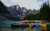 Moraine Canoes (EXPLORED) (Rex Montalban Photography) Tags: rexmontalbanphotography canoes morainelake banffnationalpark