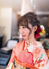 Young girl wearing kimono for coming-of-age ceremony (Apricot Cafe) Tags: img4935 20s asianethnicity japan japaneseethnicity kimono sigma35mmf14dghsmart tokyo beauty beautysalon ceremony culture enjoy hairsalon happiness oneperson peaceful seijinshiki woman youngadult minatoku tkyto jp