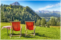 "Val Gardena Landscape (""Max Deca"") Tags: deckchairs table meadow mountains dolomites valley valgardena groden sassolungo langkofel summer relax sport nature vacations travel tourism trentinoaltoadige selvadivalgardena varese"