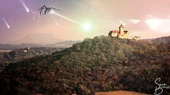 Just before darkness comes (sven_breitkopf) Tags: dragon fire castle medieval fantasy gimp manipulation colorful dreigleichen burg fortress lightanddark contrast evil magic meteor canon wizard fight attack