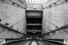 Crevasse (Douguerreotype) Tags: uk gb britain british england london underground tube metro subway escalator bw blackandwhite mono monochrome city urban people transport concrete modern brutalist