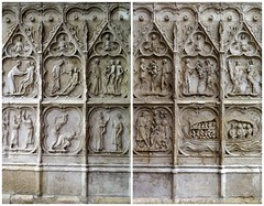Sculpted door panels of St-Etienne (St.Stephen) cathedral in Auxerre (Burgundy) (Sokleine) Tags: cathedral cathédrale stetienne catholic middleages religion culte auxerre bourgogne yonne burgundy 89 france frenchheritage monumenthistorique sculpture sculpted carved panneaux panels door porte ventaux