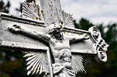 Jesus at St Boniface (lseankey) Tags: trees summer portrait sky people cemetery grave rust cross headstone jesus northdakota stboniface logancounty nikond7000 nikon28300mm nd2015contest