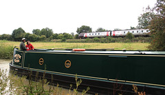 The slow and the fast (Paul Brunt) Tags: water train boat canal cross country oxford voyager narrow narrowboat
