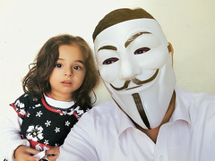 selfie.. (zai Qtr) Tags: home fun mask father daughter blessing qatar manal missingyou gudai