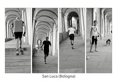 Runners in Bologna (treeffe2000) Tags: street bw architecture streetphotography bologna runners archway runner sanluca x100s