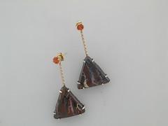 Boulder opal & sapphire earrings