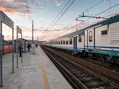 Escape (Giulio Gigante) Tags: leica sunset sky italy orange colors station clouds train landscape italia alba railway dlux abruzzo giulio pescara typ109 dluxtyp109 giuliogigante