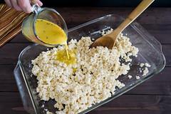 adding cheese sauce to the tofu (Husbands That Cook) Tags: vegan lemon tofu casserole pasta vegetarian garlic mustard turmeric thyme macandcheese nutritionalyeast veganomicon veganmacandcheese