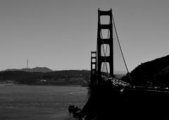 Golden Gate View (pjpink) Tags: sanfrancisco california ca bridge blackandwhite bw fall water monochrome bay september goldengatebridge goldengate sanfranciscobay 2015 pjpink