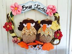 Guirlanda Coruja (Pina & Ju) Tags: handmade flor artesanato guirlanda porta fuxico coruja manual enfeite