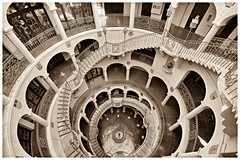 The Mission Inn Hotel & Spa (Bryan the Roving Vagabond) Tags: blackandwhite monochrome sepia architecture stairs hotel inn pattern arch riverside indoor landmark symmetry historic national staircase mission spa circular the