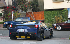 (Insert Speciale pun here) (sumosloths) Tags: ocean california street blue beach car yellow oregon dark monterey downtown stripes side rear navy ferrari here pebble driveway ave midnight carmel specs week plates spotted avenue coolest turning accents spotting scraping pun speciale insert 2015 carspotting 458 sumosloths