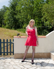 Summerdress. (sabine57) Tags: stockings drag tv pumps highheels dress cd crossdressing tgirl transgender tranny transvestite summerdress crossdresser crossdress nylons minidress travestie transvestism