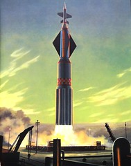 """Take-off of a heavy booster"" by Chesley Bonestell from ""Beyond the Solar System"" by Willy Ley. NY: Viking, (1964) (lhboudreau) Tags: illustration painting book drawing paintings illustrations drawings books spacetravel outerspace viking solarsystem 1964 hardcover spaceart vikingpress willyley hardcovers spacebook hardcoverbooks chesleybonestell hardcoverbook bonestell thevikingpress vintagespaceart vintagespacebook beyondthesolarsystem"