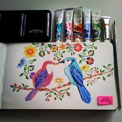 #lovebirds #birdportrait #winsorandnewton #watercolours #moleskine #flowers #kiss #waterblog #art_antonio #art_we_inspire #art_spotlight #art_sanity #animal_artists (Milagritos9) Tags: flowers square lofi squareformat lovebirds artjournal acuarelas birdportrait cutebird artpages iphoneography birdjournal instagramapp uploaded:by=instagram moleskinewatercolours pajaritosenamorados