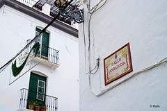 Calle Andaluca (Kym.) Tags: street light window lamp sign walking spain alley walk balcony andalusia andalucia competa