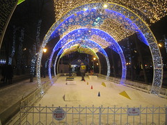New Year Moscow (VERUSHKA4) Tags: lighting street new city winter people holiday snow game building tree canon fence lights evening europe boulevard cityscape arch darkness image russia moscow year january decorating astounding tverskoy
