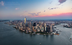 Big Apple (Dwood Photography) Tags: big apple bigapple nyc newyorkcity new york city ny heli helicopter manhattan pink blue river water twilight sunset