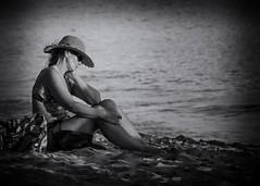 Musing (Oliver Leveritt) Tags: nikond7100 afsvrzoomnikkor70300mmf4556gifed oliverleverittphotography monochrome blackndwhite waikikibeach waikiki honolulu oahu hawaii beach mature woman sand bikini