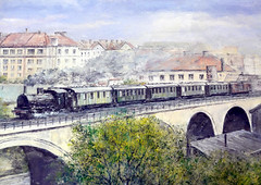At the bridge (roomman) Tags: 2016 warsaw poland warszawa rail rails railway railways train trains transport transportation traffic museum city glowna station old disused history historic steam steamtrain engine bridge town local viaduct pkp polish state