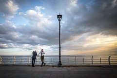 Guys hanging out during sunrise at Beirut's seafront - Lebanon (Laurent Tironi) Tags: sunrise canon6d canon1635mmf4 beirut lebanon