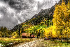 Crystal Main Road (Serithian) Tags: hdr high dynamic range sony alpha a6000 photomatix fall colors aspens marble crystal colorado rocky mountains mill river town clouds snow leaves autumn