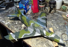 1:72 Saab A 32A Lansen, aircraft 29 of the Swedish Air Force Frskscentralen during camouflage trials; Malmsltt, Sweden, 1970 (Whif/Heller kit conversion) - WiP (dizzyfugu) Tags: 172 whif whatif rmer illustration profile fictional aviation saab 32 lansen a32 dizzyfugu modellbau heller vintage model kit sea camouflage experimental field meadows fc fc29 frskscentralen malmsltt swedish air force