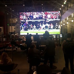 Watching the game at YouTube Space.