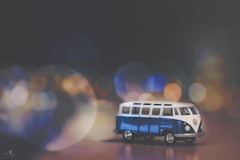 light fantastic (rockinmonique) Tags: tinycar vw bus toy bokeh shine blue gold moniquew canon canont6s tamron copyright2016moniquewphotography