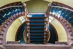 _DSC8792 (jbaker6886) Tags: austin light stedwards texas university architecture bannister blue curves gold lines shadow staircase