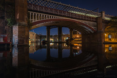 Castlefield (mecenas zielon) Tags: nightphotography urban streetphotography mirror reflections bridge viaduct longexposition longexposure greatbritain manchester castlefield