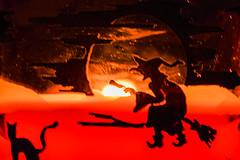 Happy Halloween !! (marionrosengarten) Tags: halloween witch blackcat candle glass fire burning macromonday spookyandfrightful broom riding